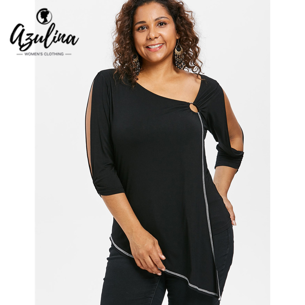 AZULILNA Plus Size   T  -  Shirt   Women Skew Collar 3/4 Split Sleeve Asymmetric   T  -  Shirts   Ladies Tops Casual   Shirt   Tees Big Size Clothes