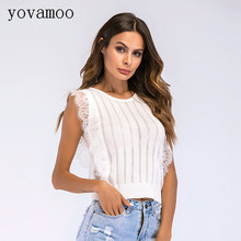 Yovamoo Europe Streetwear Hollow Lace Top Patchwork Knitted O-neck Sleeveless Vest Summer Tops Women 2018 Black / White