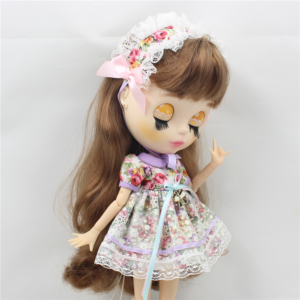 Neo Blythe Doll Vintage Floral Dress with Hairband 1
