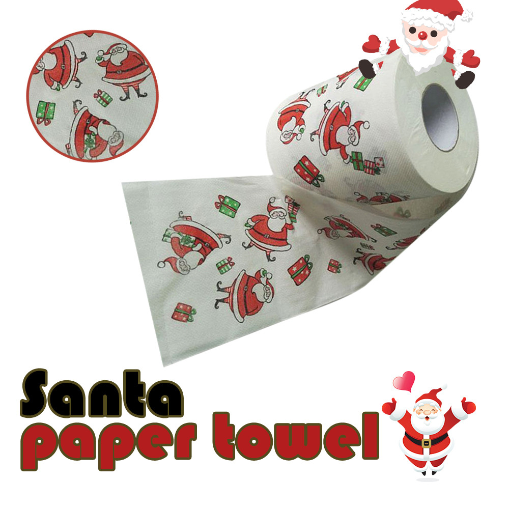 Us 3 42 20 Off 1 Roll Santa Claus Printed Merry Christmas Toilet Paper Tissue Table Room Decor Xmas Party Events Ornament Crafts Accessories In