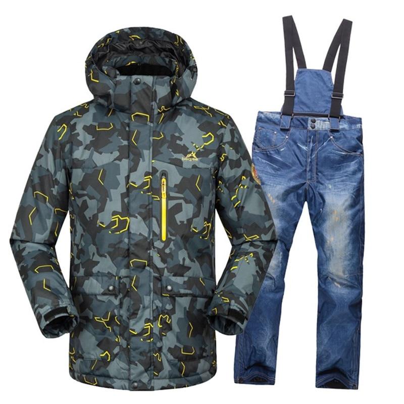 2018Outdoor camouflage men's ski suit suit snowboard jacket waterproof 10000 breathable winter suit suit jacket + bib ski pants suit lemoniade suit