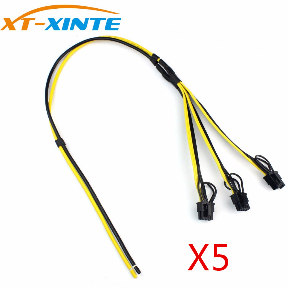 цена на XT-XINTE 5Pcs Power Supply Cable 1 to 3 6p+2p Miner Adapter Cable 8pin GPU Video Card Wire 12AWG+18AWG Cables for BTC Mining