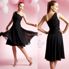 2014 New Cheap Black Chiffon Vestidos One Shoulder Cut Out Corset Prom Party Dresses Knee Length Bridesmaid Dresses