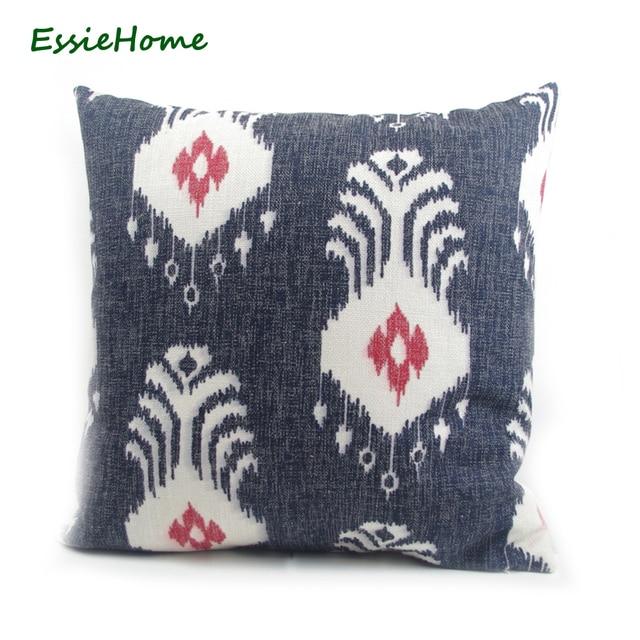 essie home high end hand print dark blue navy ikat pattern pillow rh aliexpress com Navy Ikat Chair Ditte Sofa