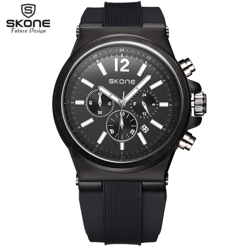 Skone Relogio Fashion Quartz Watch Man Luminous Silicone Watches Men Hot New Calendar Wristwatch For Male Chronograph Sport Hour skone 5051 luminous pointers quartz watch men rotatable bezel wristwatch