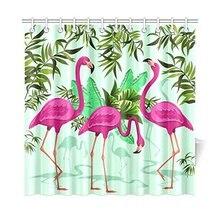 Roze Flamingo Home Decor, Tropische Bloemen Palmbladen Polyester Douchegordijn Badkamer Sets met haken 72 X 72 inch