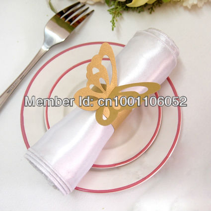 Free Shipping 50pcs High Quality Gold Paper Erfly Napkin Rings Wedding Bridal Shower Holder