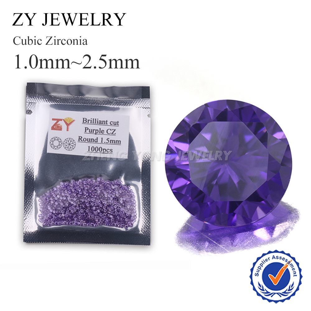 1000pcs 1.0~3.0mm 5A Round Cut CZ Stone Brilliant Purple Cubic Zirconia Synthetic Gems stone For Jewelry