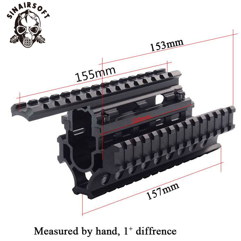 AK 47/74 Tactische Quad Rails Handguard Rail Met 6 stks Covers Jacht Schieten Tactische RIS Quad Rail AMD-65 Quad Rail Systeem