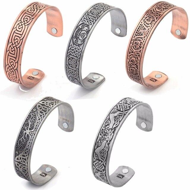 806e56e43780 € 3.61 20% de DESCUENTO|Skyrim mezcla Viking salud pulseras y brazalete  brazaletes con Árbol de la vida/suerte nudo magnético de las mujeres de la  ...