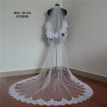 Highest Quality 3-meter (total length)Two Layers Elegant Luxury Long Wedding Veil Bridal Veils Lace Veil with Comb