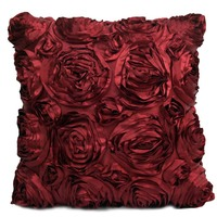 Decorative 3D Rose Embroidery Cushion Cover 40X40cm 1 Piece Sofa Car Outdoor Bedding Flower Throw Pillow