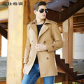 Fashion Brand Men Leather jackets solid color Suit collar leather Trench Coat Man long Faux Leather coats outwear