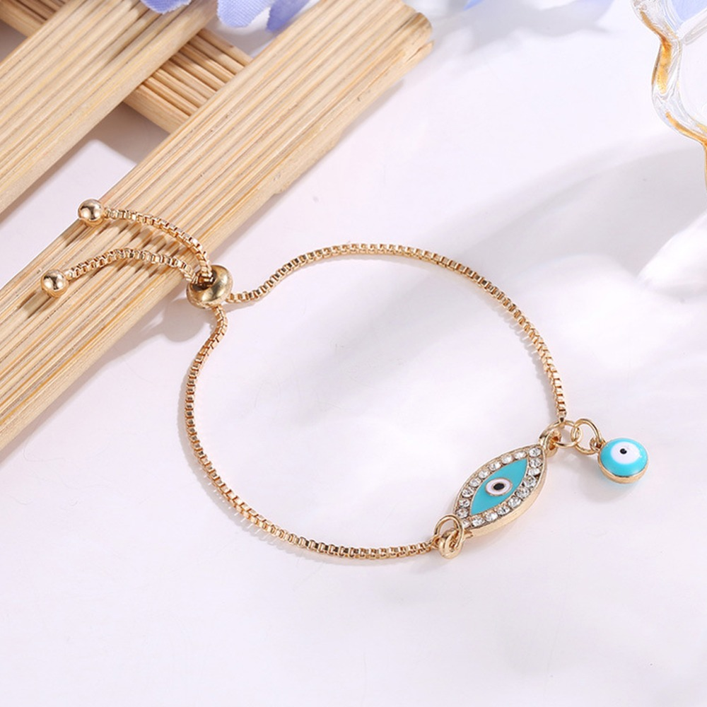 new fashion gold heart blue evil eye bracelet charm trendy adjustable for woman jewelry gift #287363