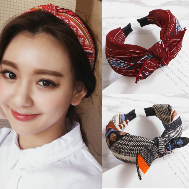 Hairbands women grils vintage Twisted Knotted Headband Floral bow wide Hair  Bands Headwear Accessories ST056 e852b53c8ac