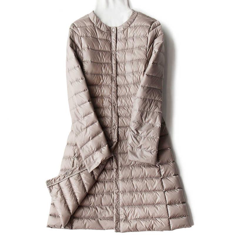 Зимние Для женщин Ультра Легкая зимняя куртка-пуховик Белые парки с гусиным пухом пальто осень, для женщин сплошной теплый тонкий Длинная Куртка Верхняя одежда RH1439
