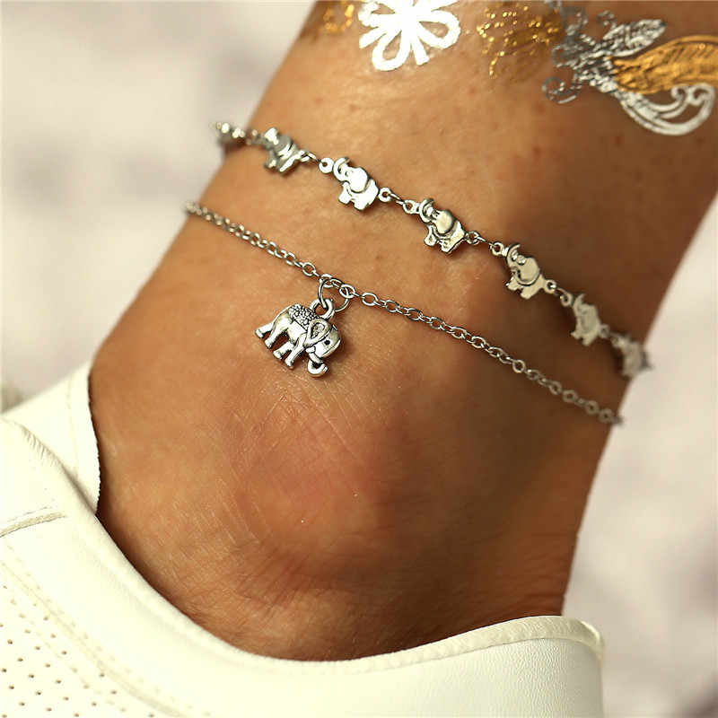 ZORCVENS Vintage Multiple Layers Anklets For Women Retro Elephant Pendant Foot Jewelry Barefoot Sandals Ankle Bracelet
