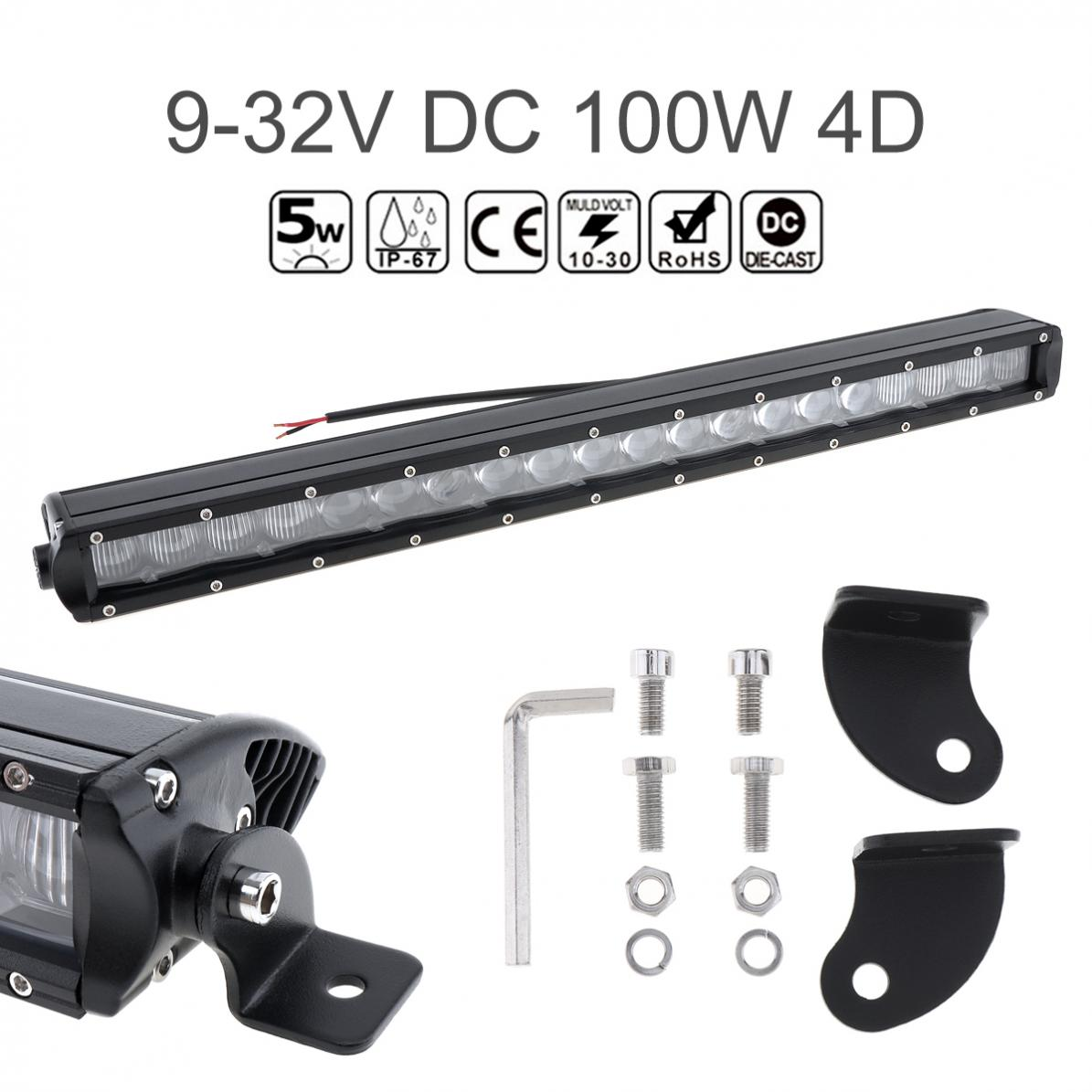 20 Inch 10000 LM 100W Waterproof Car Straight LED Worklight Bar 20x4D Combo Offroad Light Driving Lamp for Truck SUV 4X4 4WD ATV