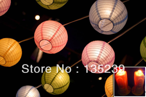 2017 New Blue Large Round Paper Lantern Led Fairy Lights 16 Inches 10 Lanterns For Wedding Party Baby Shower Decor