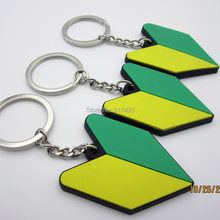 1pcs soft Rubber New driver badge JDM arrow tip arrowhead keychain wakaba keyring Shocker hand key chain ring(China)
