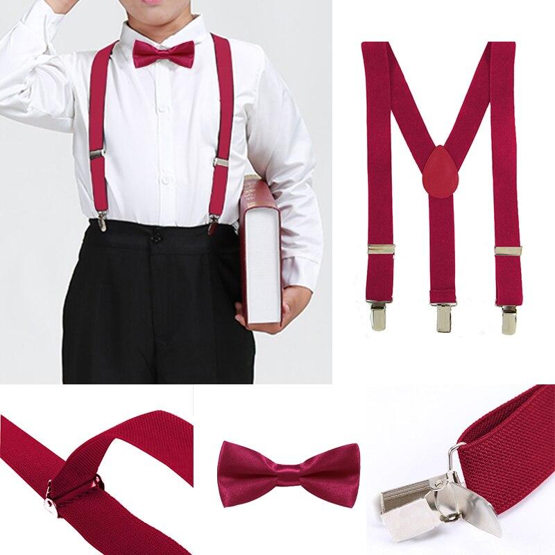 2PCS Boys Bowtie Kid Suspender Y-Back Adjustable Elastic Boys Suspenders Bow Tie 1-8 Year Wedding Braces GHHtr0003 billetera sailor moon