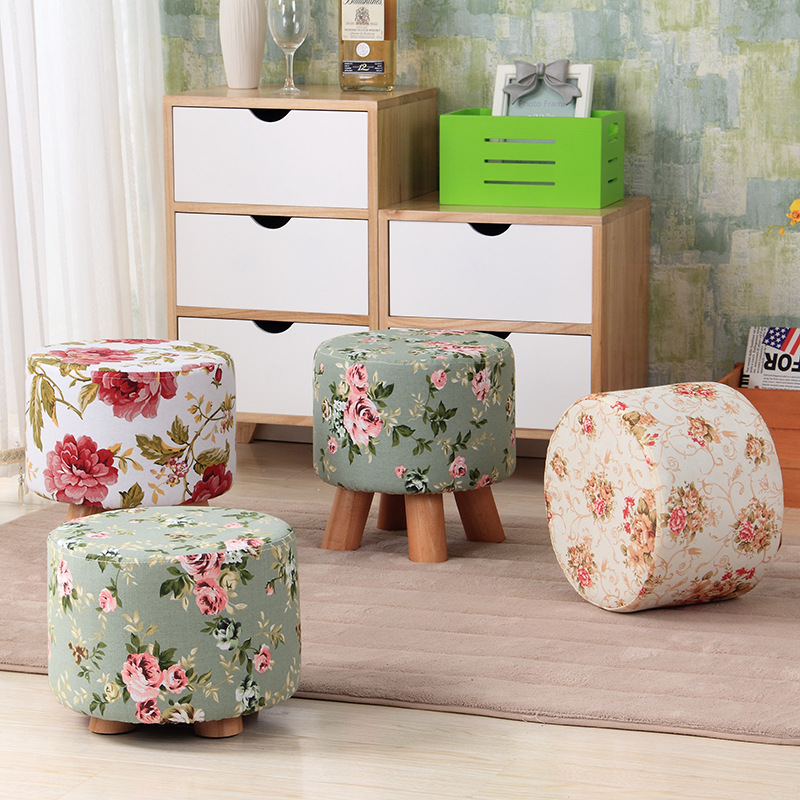 Pastoral Style Flower Ottoman -