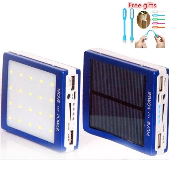 imágenes para Al aire libre luces LED 15000 mah Cargador de Batería Solar 15000 mAh Panel Solar de Carga Dual Puertos banco de energía portátil para el Teléfono Móvil
