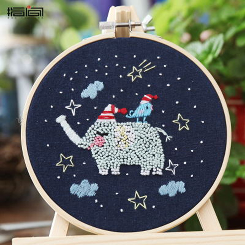 Starry Sky DIY Cross Stitch Material Package Embroidery Cute Cartoon Animal DIY Embroidered Accessories Kit Craft With Frame 8