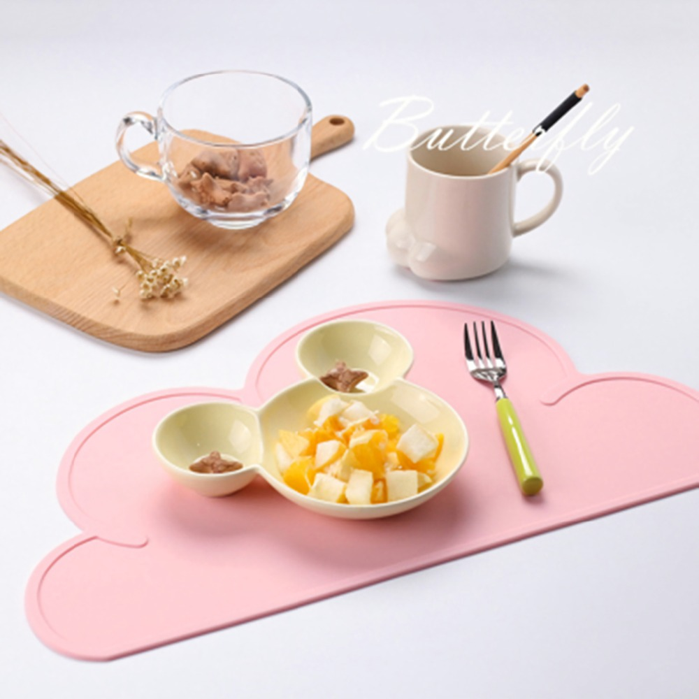 Rainqueen Cute Silicone Placemat Mat Baby Kids Cloud Shaped Plate Table Mat BPA Free Waterproof Set Home Kitchen Pads 47x27cm