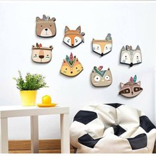 Ins Nordic Style Wooden Animal Head Furniture Ornament Wall Decor Miniatures Baby Kids Room Decoration Photography Props Gifts