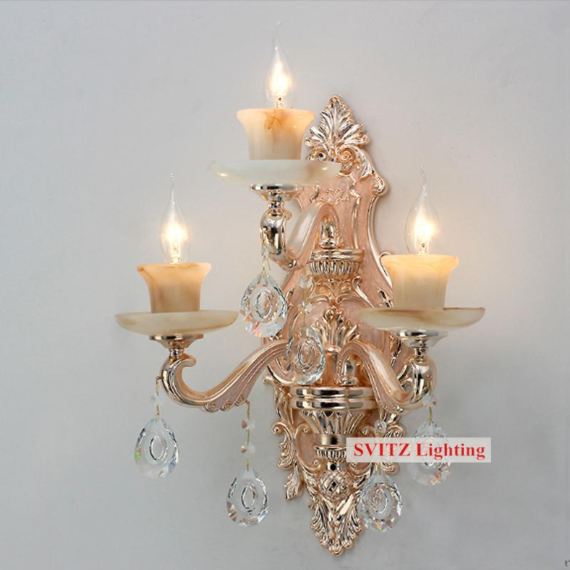 Modern3 pcs Big large wall lamp sconce for living room Hotel beauty salon art deco Artificial jade shade crystal wall lighting