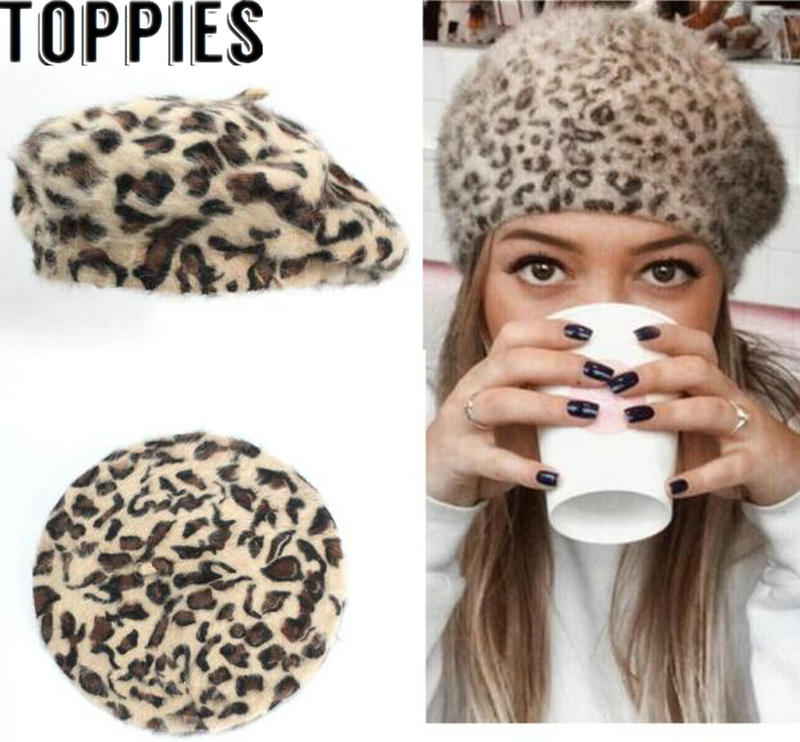 e5c5d7b23 Detail Feedback Questions about 2018 Winter Chic Women Fuzzy Rabbit Hair  Leopard Berets Warm Cozy Animal Printed Rabbit Hair Knitted Hats on  Aliexpress.com ...