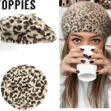 f9412f8ea6e3 2019 Winter Chic Women Fuzzy Rabbit Hair Leopard Berets Warm Cozy Animal  Printed Rabbit Hair Knitted