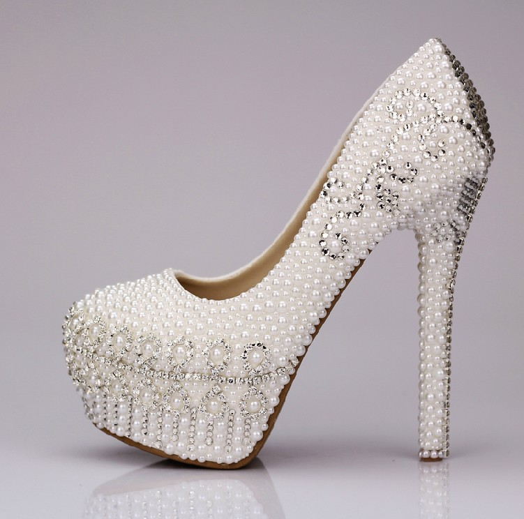 2016 New Style High Heel White Pearl wedding shoes Rhinestone Crystal shoes Party Ball Prom Shoes