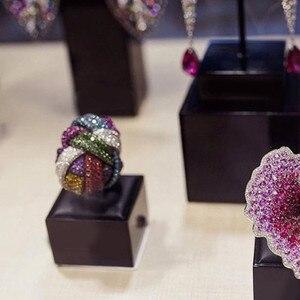 Image 3 - Godki anel de noiva unissex, anel de casamento, unissex, com dedo de noiva, geométrico cúbico, marca famosa de luxo 2018
