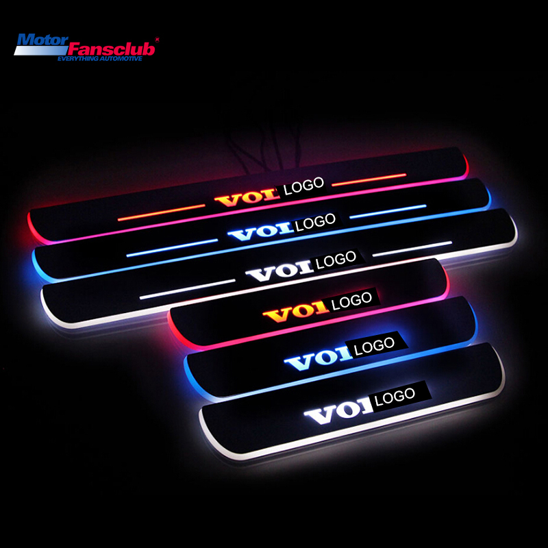 4Pcs LED Car Moving Light Nerf Bar Pedal for Volvo XC60 2015 2016 Scuff Plate Tirm Door Sill Pathway Waterproof Guards Welcome waterproof acrylic moving led welcome pedal car scuff plate pedal door sill pathway light for hyundai i30 2013 2014