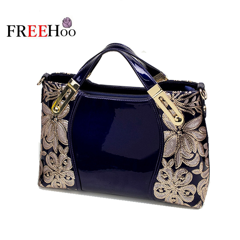 2017 new European and American fashion brand female handbag luxury Patent leather women bags european and american 2017 new lychee grain 100