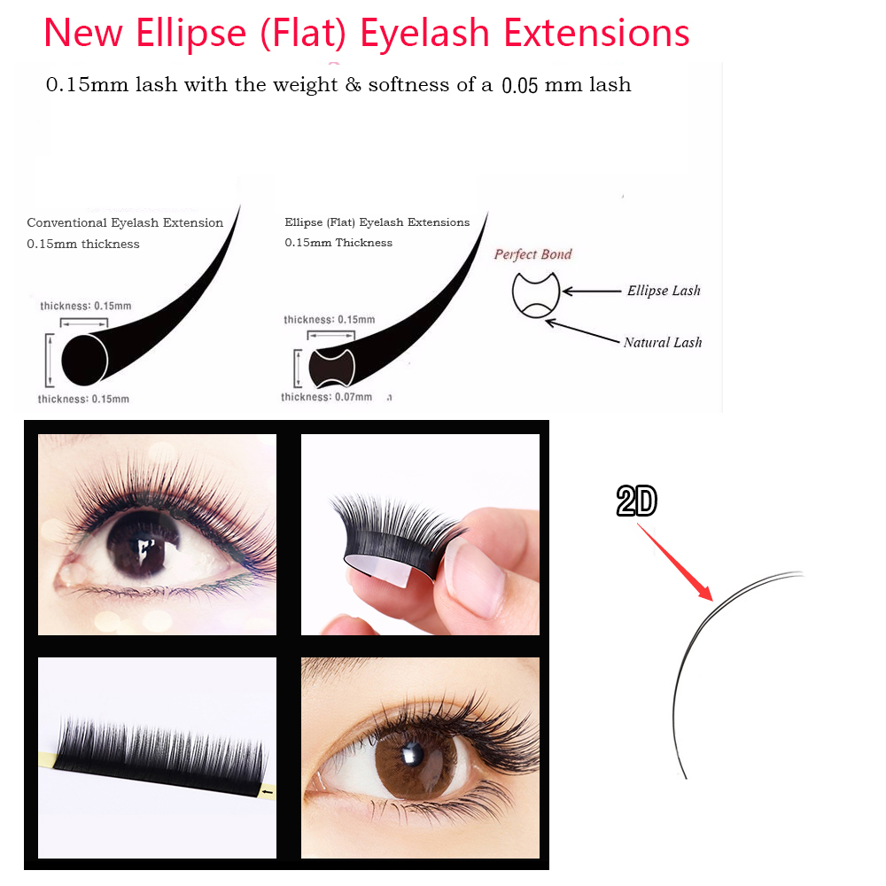 10trays/Lot, Ellipse Flat False Eyelash Extensions Soft Thin Tip Flat Roots New Products Saving Time Recommended by Technicians