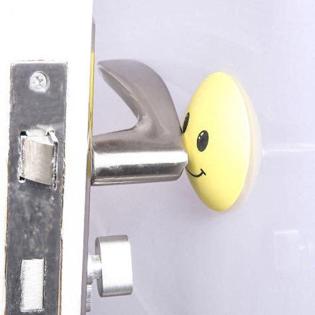 top sale 3d wall stickers rubber door handle knob emoji crash pad