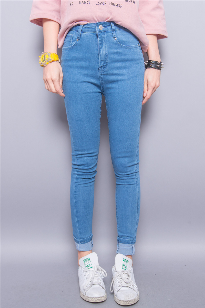 Jasmine fashion classic vintage solid color all match high waist pencil jeans female