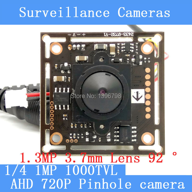 1MP AHD mini pinhole camera CCTV 720P mini night vision Camera Module 1/4 HD 1.3MP 3.7mm lens 92 degrees surveillance camera
