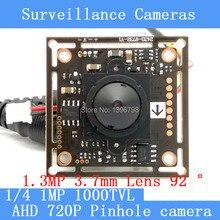 1mp AHD Мини Пинхол Камера CCTV 720 P мини ночного видения Камера модуль 1/4 «HD 1.3mp 3.7 мм объектив 92 градусов наблюдения Камера