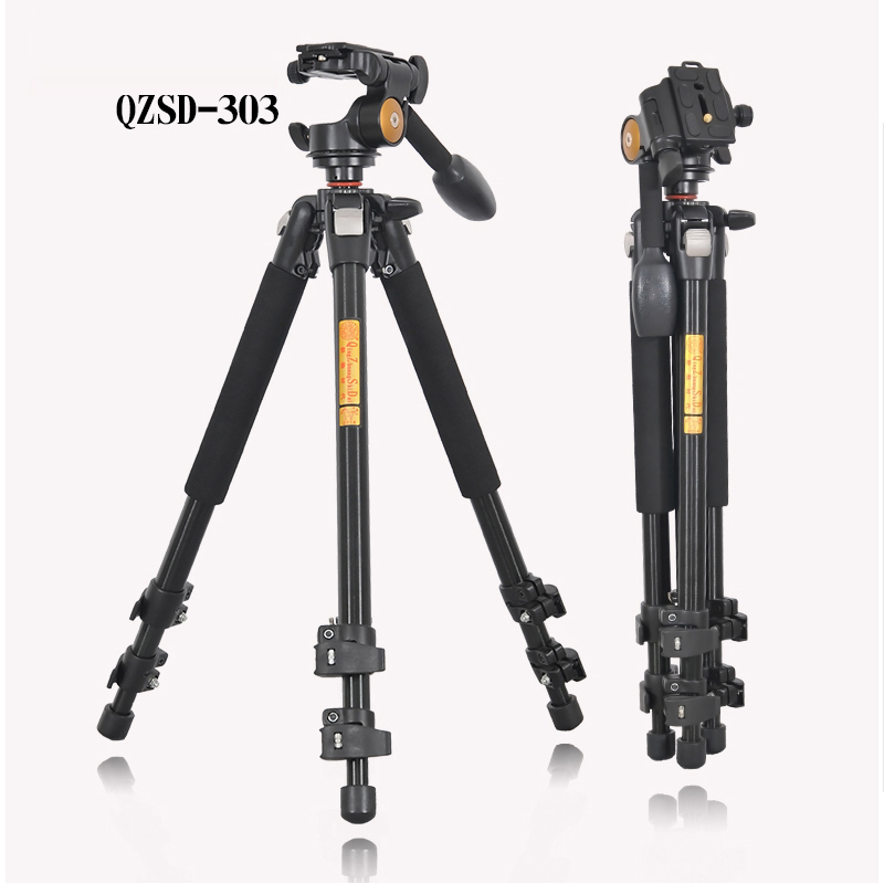 QZSD Q303 Professional Camera Tripod Quick Release Plate Single Handle Hydraulic Damper Head Suit Tripe Tripodes Accessories