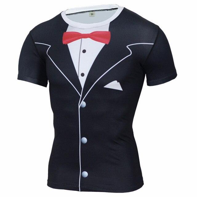 Nuevo divertido 3d Tuxedo imprimir compresión camiseta Marca Ropa Camisetas  Fitness Crossfit hombres camiseta más tamaño 85abdd570cbef