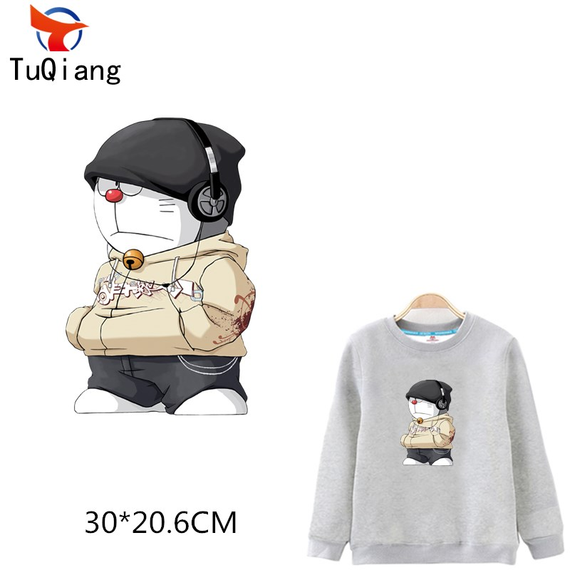 5pcs Listening music Doraemon T-shirt Sweater DIY Accessory A-level Washable Iron-on Transfers patch for clothing 30*20CM