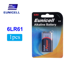 EUNICELL 1PCS Dry Battery 9V 6LR61 PPP3 1604A Alkaline 6F22 Non-rechargeable Batteries for Radio,Camera,Toys Dropshiping