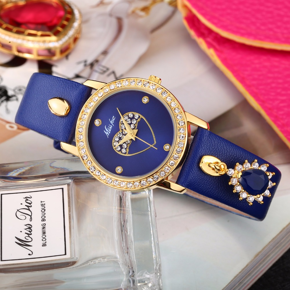 Women's Watch Missfox Relojes Para Mujer Heart Face Leather Gold Wrist Watch Bling Blue Stone Girl Waterproof Quartz Wristwatch