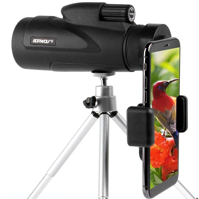 Borwolf 12X50単眼望遠鏡HDナイトビジョンBak4プリズムスコープ(電話クリップ付き)狩猟用三脚防水双眼鏡Монокуляры