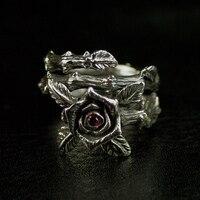 S925 тайские серебряные женские модели Ретро шипы розовое кольцо