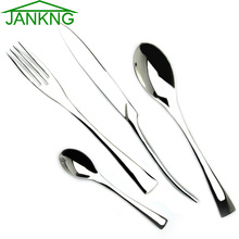 JANKNG 24 Pcs/Lot Steak Knife Fork Dinner Silverware Set Western Food Stainless Steel Cutlery Tableware Dinnerware Set for 6